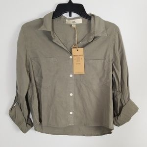 Thread + Supply Cropped Button Down Top Size M NWT